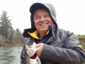 "Lee Harrington holding his Steelhead caught 2 February 2018 on a north coast river, Guide Mike Ferris of "" Fisherman Mike's Guide Service, LLC."""