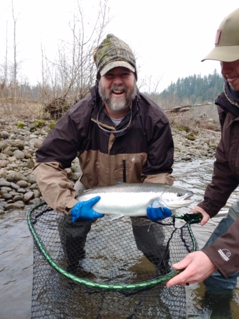 Eric Foley with 8 lb Steelhead on Sandy River, Jan 20, 2020